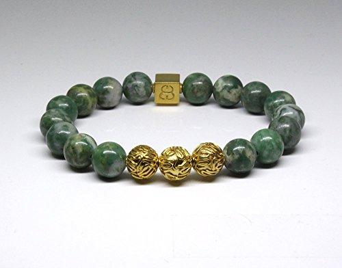 Qinghai Jade and Gold Bracelet, Men's Luxury Bracelet, Jade and Gold Vermeil beads Bracelet, Men's Designer Bracelet by Kartini Studio