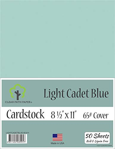 Light Cadet Blue Cardstock - 8.5 x 11 inch - 65Lb Cover - 50 Sheets