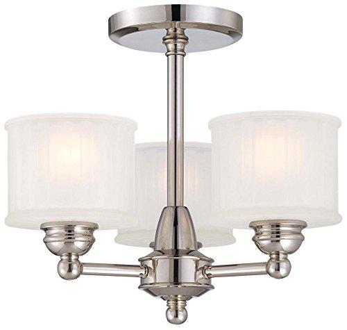 Minka Lavery Semi Flush Mount Ceiling Light 1730 Series 1738-613 3LT 180 watt Glass Polished Nickel 13H x 16W