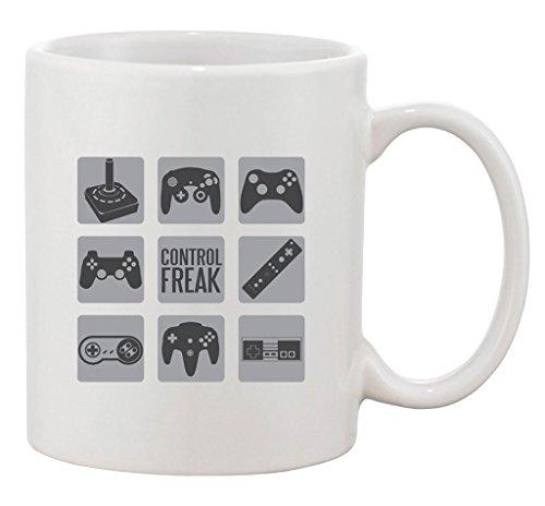 Control Freak Video Game Controller Gamer Nerd Geek DT Ceramic White Coffee 15 Oz Mug ()