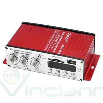 Mini amplificador estéreo para coche 2 canales Radio FM Puerto USB SD Kinter MA-120: Amazon.es: Electrónica