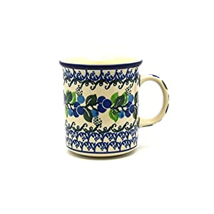 Polish Pottery Mug – Straight Sided – Blue Berries