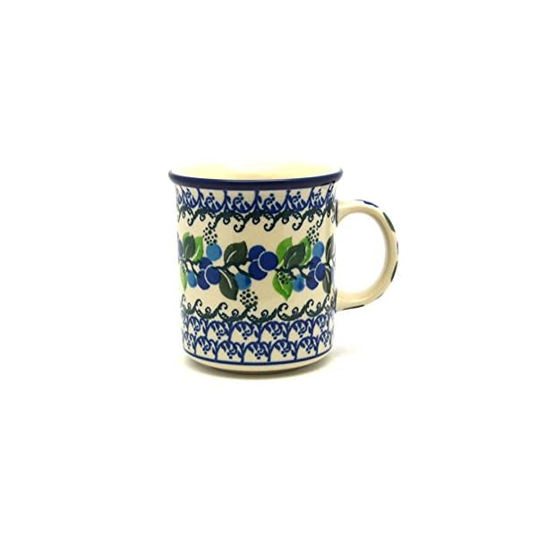 Polish Pottery Mug – Straight Sided – Blue Berries