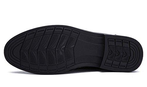 Tda Manar Brittiskt Mode Bekväma Snörning Super Fiber Läder Halkfria Tillfällig Finskor Svarta