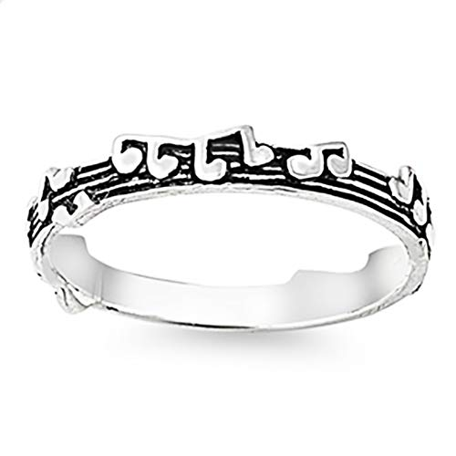 CloseoutWarehouse Sterling Silver Musical Staff Notes Ring Size 7