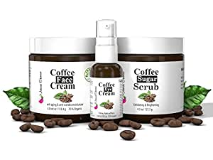 Anti-Aging, Anti-Wrinkle Skin Care Kit, 3-Piece Set, Face Moisturizer 4oz, Eye Cream 1 oz, Face Scrub 4.5oz, all Natural and with Organic ingredients with the Benefits of Coffee