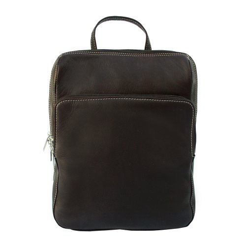 Piel Leather Slim Front Pocket Backpack, Chocolate, One (Piel Slim Front Pocket Backpack)