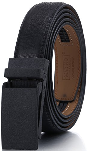 Marino Men's Genuine Leather Ratchet Dress Belt with Linxx Buckle, Enclosed in an Elegant Gift Box - Black - Style 165 - Adjustable form 28
