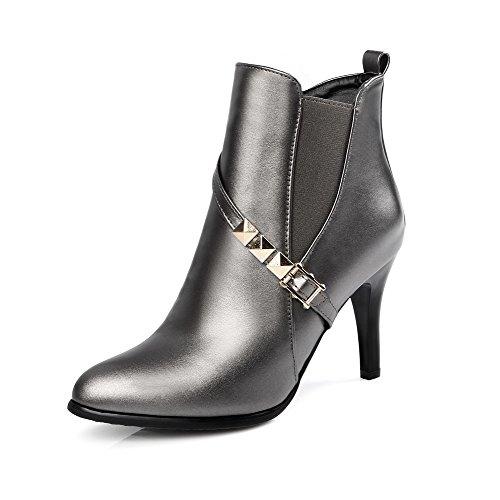VogueZone009 Damen Rein Reißverschluss Spitz Zehe Stiletto Stiefel mit Metalldekoration Silber