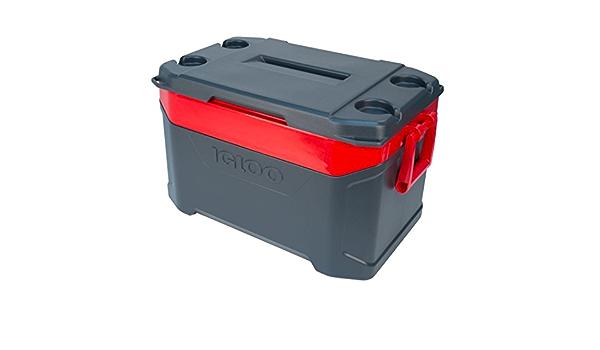 IGLOO Coolbox Latitude 50 Jet Carbon//Red Heat Cool Box tiene capacidad para 85 latas de 12 onzas 47 L