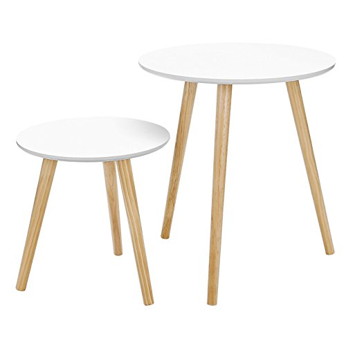 "SONGMCIS Nesting Tables Round Coffee End Tables Night Stand Modern Minimalist Multi-Purpose ""Daffodil Series"" Accent Furniture for Living Room Bedroom Kid's Room, Nature White Tabletop ULET07WN ()"