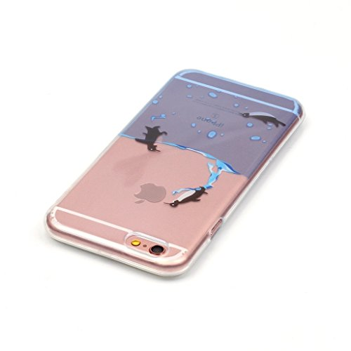 drei Pinguine Drucken Design weich Silikon TPU schutzhülle Hülle für Apple iPhone 6 6S 4.7'' (4,7''),Premium Handy Tasche Schutz Case Cover transparent Schale für Apple iPhone 6 6S 4.7'' (4,7'')