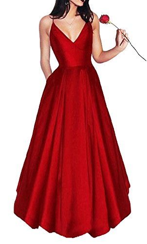 Bonnie Women's V-Neck Homecoming Dress 2017 Long Spaghetti Straps Satin...