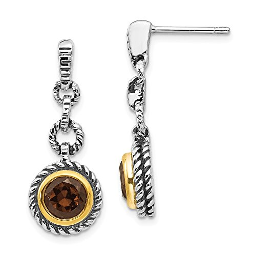 - 925 Sterling Silver with gold-Tone Flash Gold-Plated Simulated Smoky Quartz Earrings (23mm x 11mm)