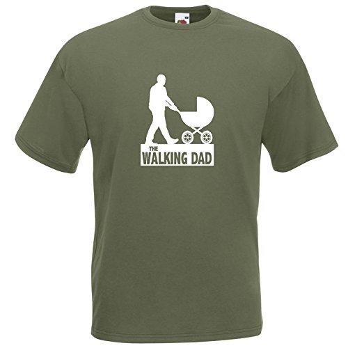 The Walking Dad Fun T-Shirt Olive / Druck Weiß