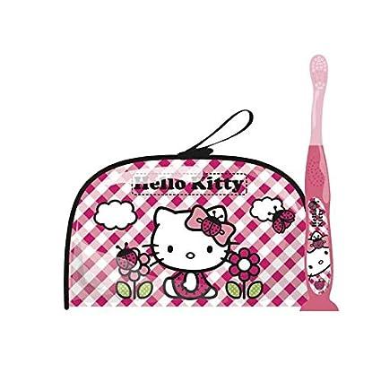 tinokou – Bolsa de aseo isotérmica + 1 cepillo de dientes ergonómico Hello Kitty