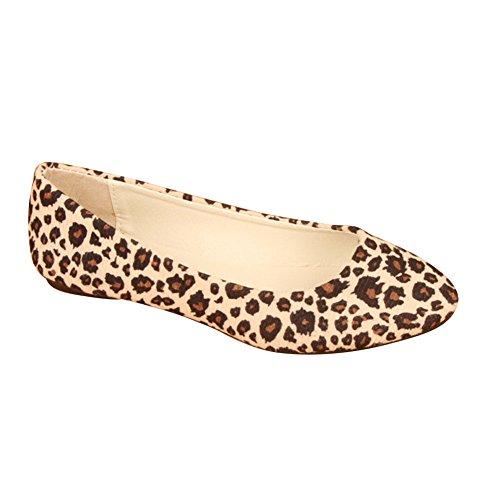 léopard Ballerines artificiel chaussures confortables pour en blanches cuir femmes qqtS7