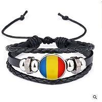 Runfon Romanian Flag National Flag Braided Bead Bracelet Bracelet for all Football Fans Souvenirs Russia 2018