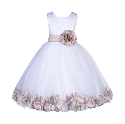 ekidsbridal Wedding Pageant Floral Lace top Rose Petals White Tulle Flower Girl Dress 165T 2