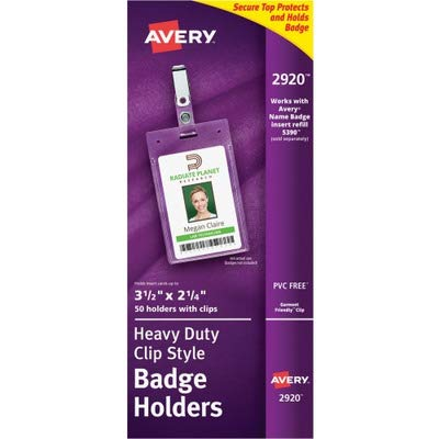 Badge Holder w/Clip,Portrait,2-1/4 quot;x3-1/2 quot; - Hanging Avery Elastic Neck