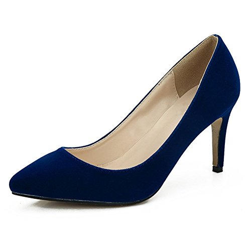 Blue Pointy Women's Dress Heel High Classic Velvet Shoes fereshte Pumps Wedding Stiletto Toe AHSOw