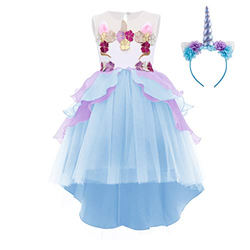 Little Girl Unicorn Party Dress Princess Flower Pageant Party High Low Tutu Dresses Birthday Outfit Halloween Costume Blue]()