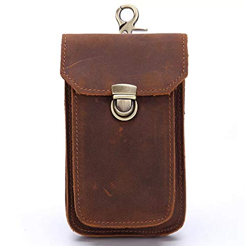 Boleke Mens Genuine Leather Small Hook Fanny Waist Bag Hip Bum Pack Cigaretee Pouch(Brown 2089)