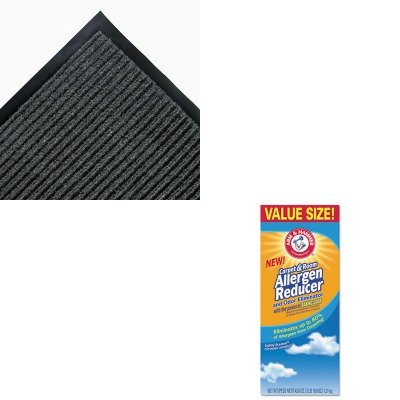 (KITCHU3320084113CWNNR0046GY - Value Kit - 4' x 6' Needle Rib Mat, Charcoal (CWNNR0046GY) and Arm And Hammer Carpet amp;amp; Room Allergen Reducer amp;amp; Odor Eliminator)