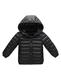 Kids Lightweight Winter Puffer Coat Down Jacket Outwear With Removable Hood