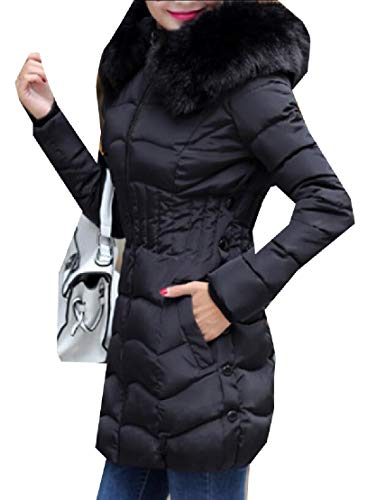 Quilted EKU Cotton Fur Coat Women's Parka Faux Stylish Hoodie Black Down SRBrXRPq