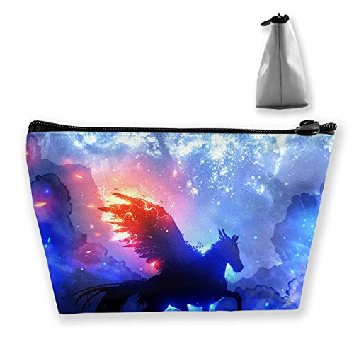 Makeup Bag Cosmetic Unicorn Wing Fire Portable Cosmetic Bag Mobile Trapezoidal Storage Bag Travel Bags with Zipper -