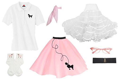 1950s Poodle Skirt, Petticoat, Polo Shirt with Accessories, Adult 7 Piece Costume Set Light Pink Large -