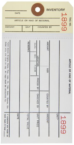 Aviditi G19041 10 Point Cardstock #8 2 Sided Carbonless Stub Style Inventory Tag,
