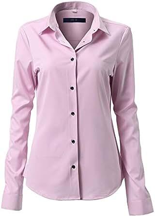 MIYA Womens Dress Shirts Bamboo Fiber Slim Fit Long Sleeve Casual Shirts Wrinkle Free Dress Shirts Blouses for Women - Pink - 8