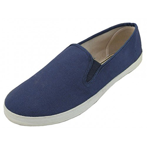 Free MEN'S CASUAL SLIP ON CANVAS SHOES BLACK / NAVY / WHITE - SIZES 7 - 13