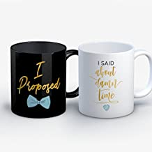 Engagement Coffee Mug - Proposed About Damn Time Engagement Funny 11 oz Black White Tea Cups - Unique Engagement Sayings Gag Gifts