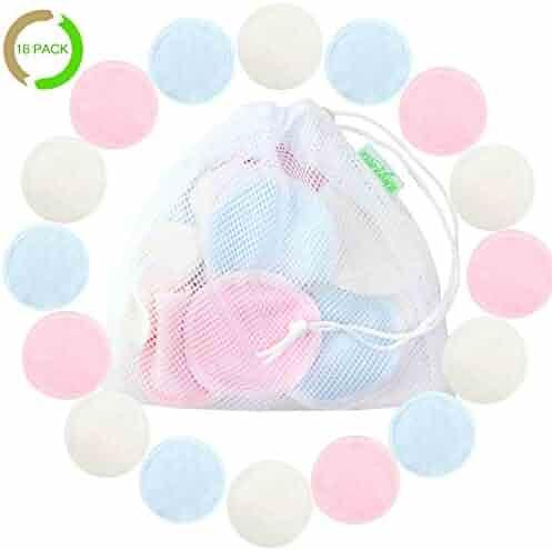 Cotton Rounds Reusable 16 Packs - Reusable Bamboo Makeup Remover Pads for face - Reusable Facial Pads Reusable Facial Cotton Rounds with Laundry Bag (Bamboo Velour, 3 color)