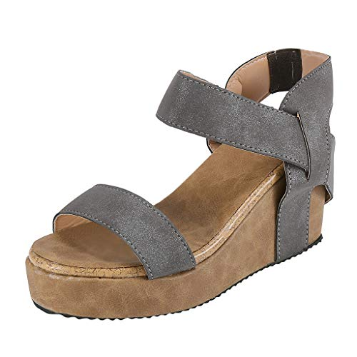 (vermers Womens Wedges Sandals Open Toe Breathable Beach Sandals Rome Elastic Band Casual Shoes(US:8, Gray))