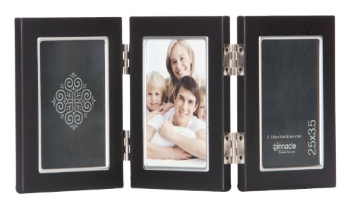 (Pinnacle Metal 2.5x3.5 Triple Black and Silver Hinged Picture Frame )