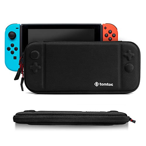 Slim Hard Case Compatible with Nintendo Switch, tomtoc Original Patent Portable Hardshell Travel Carrying Case, fit Switch Console Cover, 8 Game Cartridges Accessory, Black