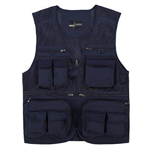 oversize da Gilet uomo e da blu notte esterno per senza multitasche maniche giacca pesca Sentao scuro E8EwpqUA