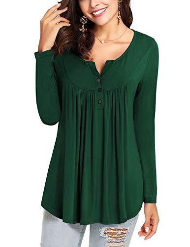WANGZHI Women's Casual Shirts Long Sleeve Button up Henley T-Shirt Tunic Tops Blouses (L, 01-Dark Green) by WANGZHI (Image #1)