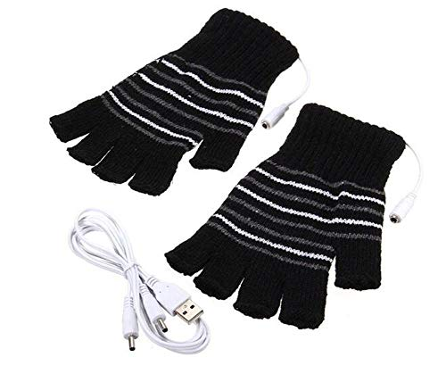 VASANA 1Pair Black Unisex USB Powered Stripes Pattern Knitting Wool Heating Gloves Fingerless Hand Warmer Mittens Laptop Computer Gloves (Knitting Patterns The Same On Both Sides)