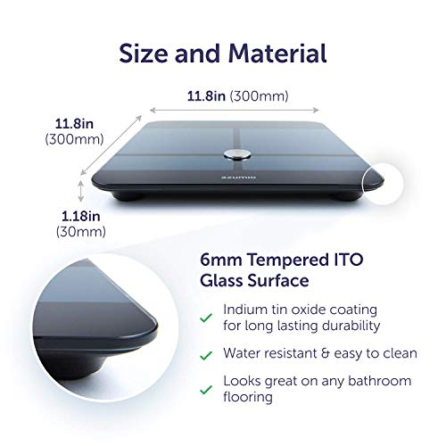 Azumio Bluetooth Digital Smart Scale for Body Weight   6mm Tempered Glass LED Display Measures Body Fat, Visceral, BMI, BMR, Muscle Mass, Bone Mass Water Weight in KG or LB   iOS & Android Compatible by Azumio (Image #1)