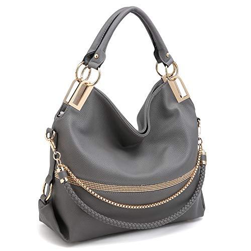 Dasein Women Classic Large Hobo Bag Rhinestone Chain Shoulder Bag Top Handle Purse (Grey) (Chain Handbag Hobo)