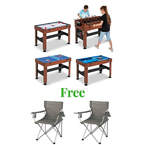 (MD Sports New Multi-Game Play Foosball, Slide Hockey, Table Tennis or Billiards Combo Table (54