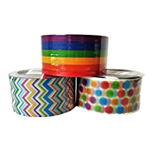 Chevron, Dots and Stripes Duct Tape in Pastel and Primary Colors, 3-pc Set