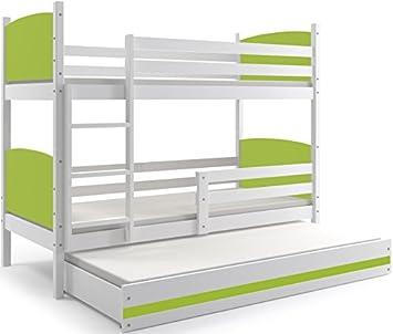 Interbeds Litera Triple, (Infantil),Tami, 160X80, (colchones,somieres y cajón Gratis), Color Blanco, los Paneles (Verde): Amazon.es: Hogar