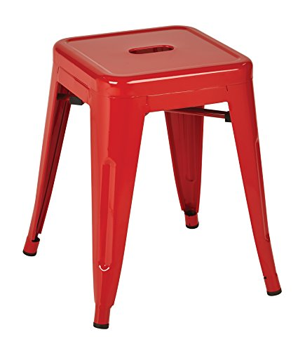 Work Smart OSP Designs PTR3018A4-9-osp Patterson 18 Metal Backless Barstool in Solid Finish 4 Pack , Red