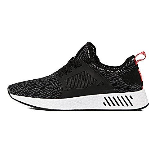 Herren Sportschuhe Sneakers Ultra Leichte Laufschuhe Training Sport Turnschuhe Atmungsaktiv Knit Schnüren Schuhe SneakerMänner Schwarz/Grau